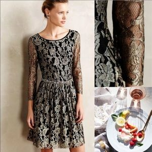 ❄️Anthropologie lace fall gold shimmer party dress